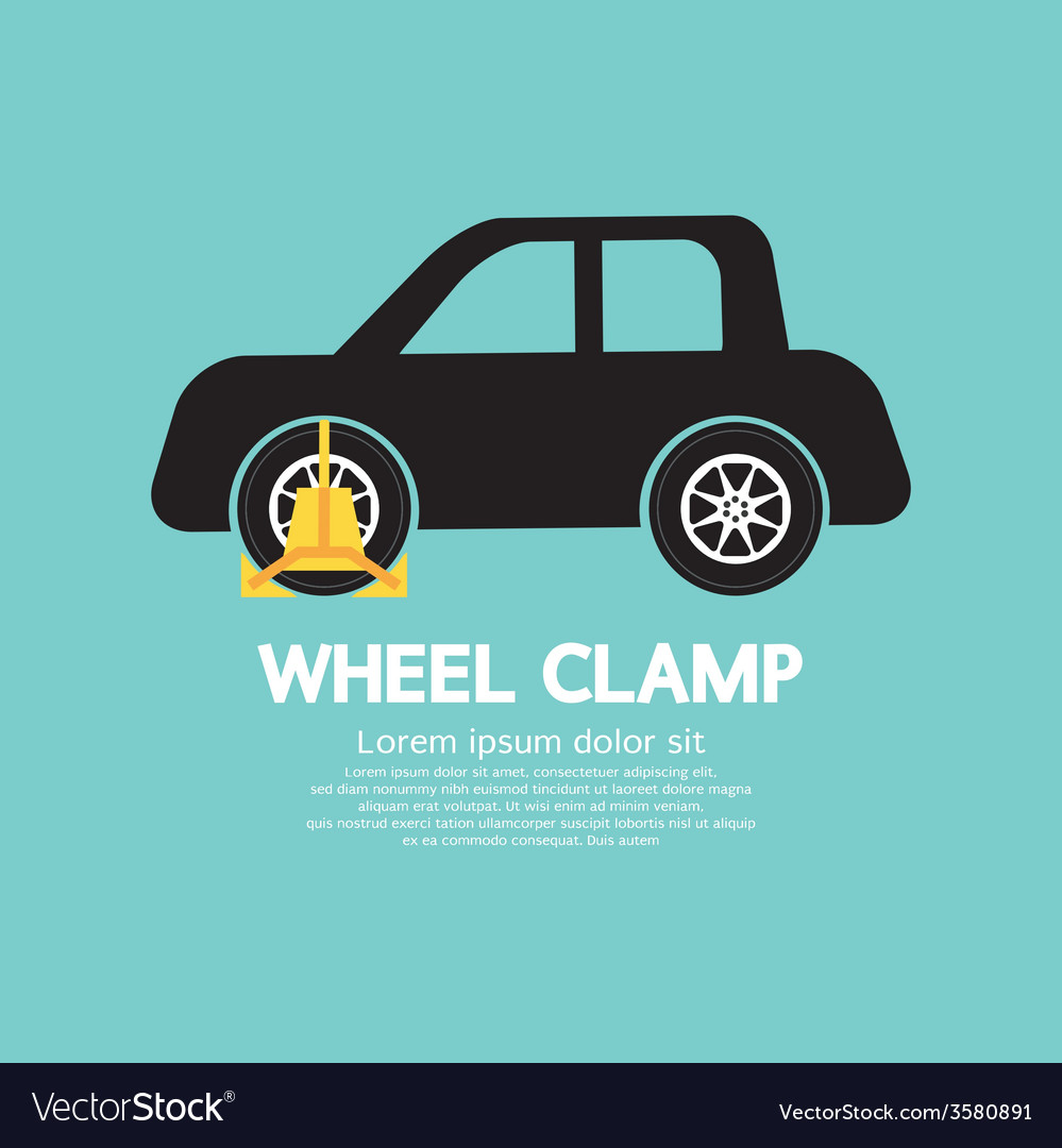 Wheel clamp on car side view vector | Price: 1 Credit (USD $1)