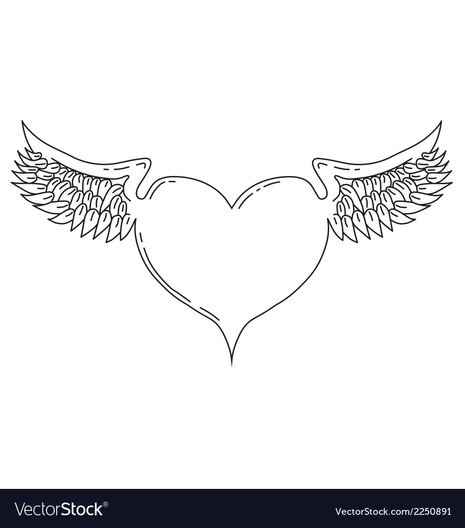 Winged love heart vector | Price: 1 Credit (USD $1)