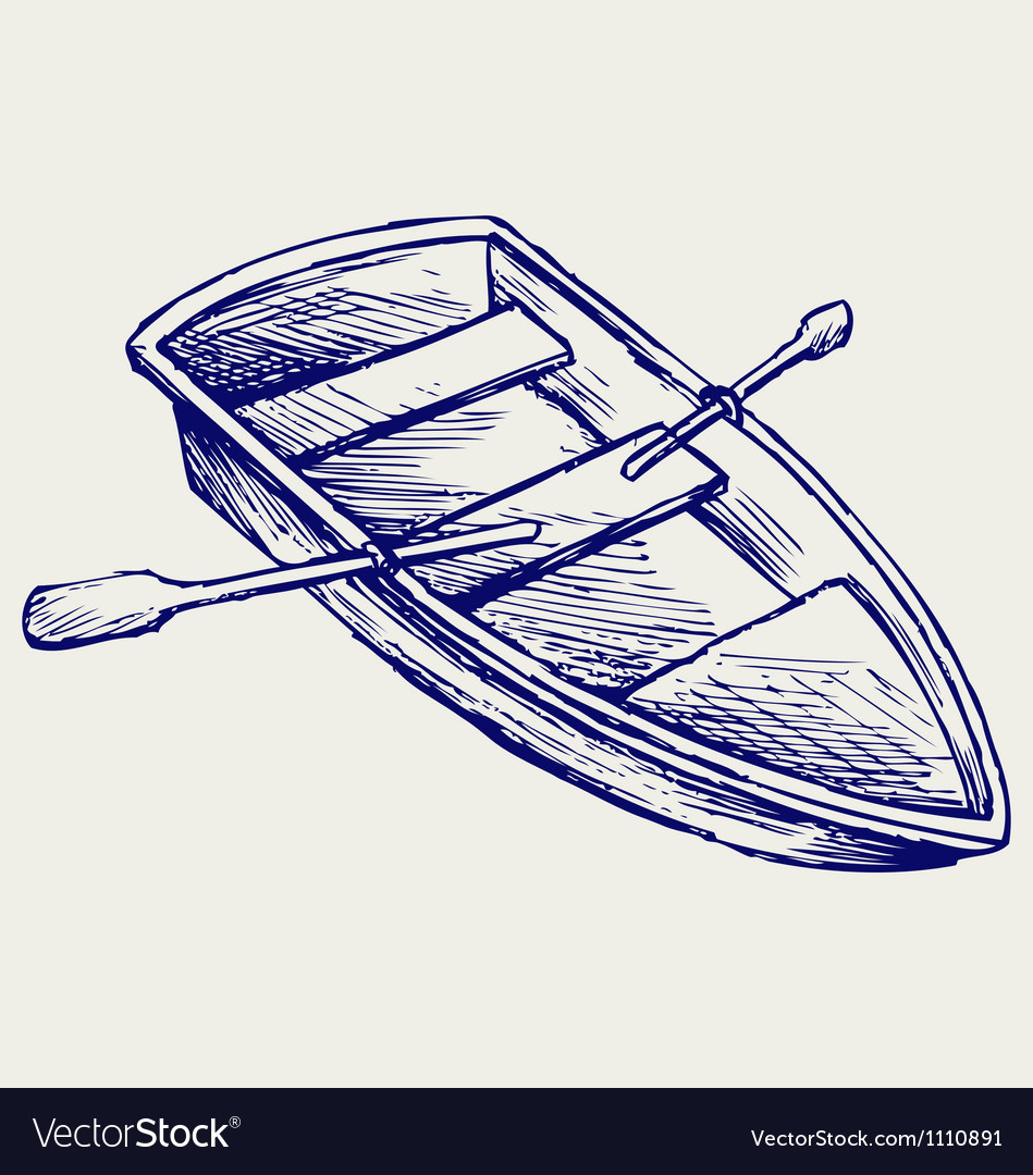 Wooden boat with paddles vector | Price: 1 Credit (USD $1)