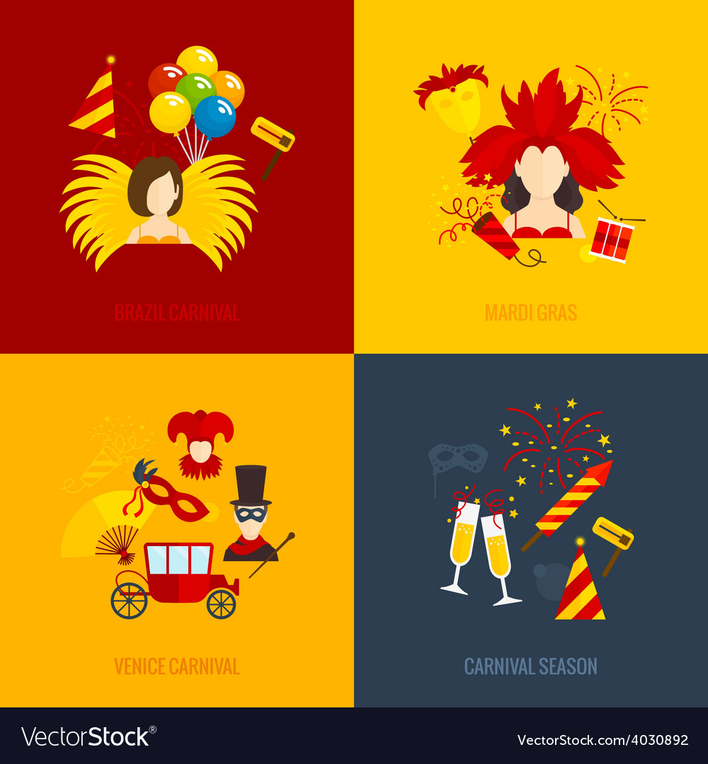 Carnival icons flat composition vector | Price: 1 Credit (USD $1)