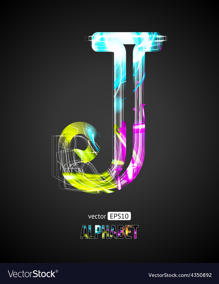 Design light effect alphabet letter j vector | Price: 1 Credit (USD $1)