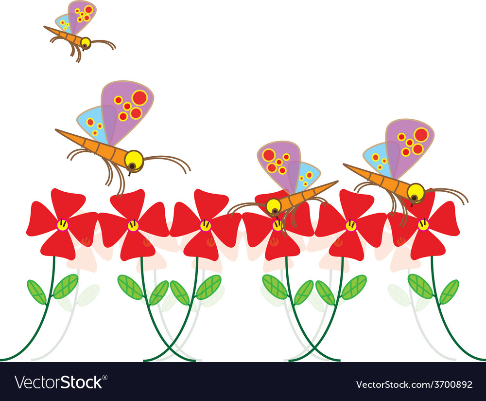 Fly dragonfly in flower garden vector | Price: 1 Credit (USD $1)