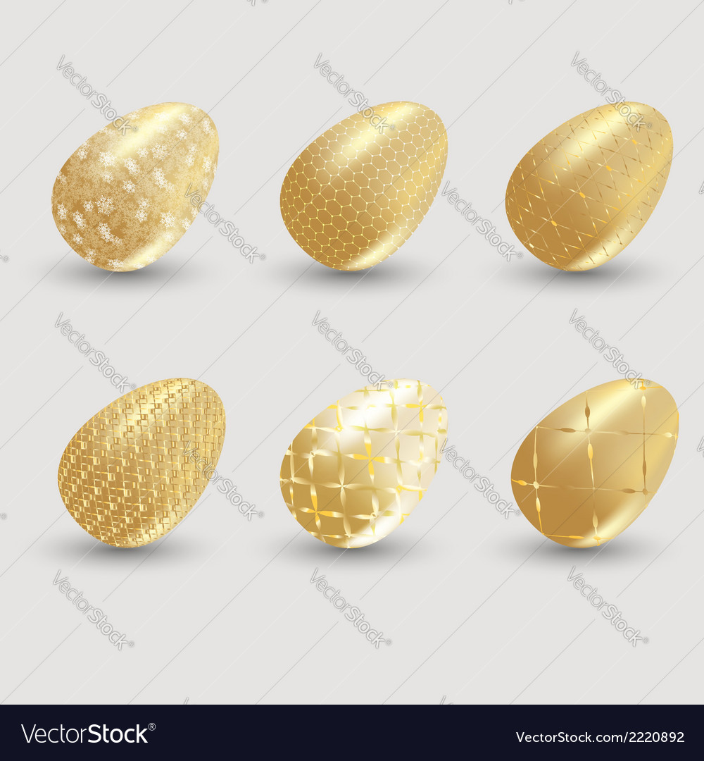 Golden easter eggs with shadow on gray background vector | Price: 1 Credit (USD $1)