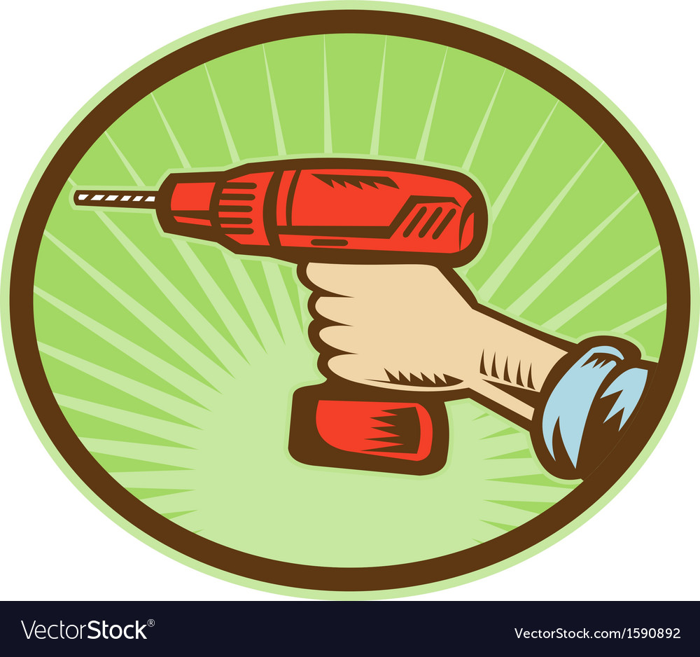Hand holding a cordless drill side view vector | Price: 1 Credit (USD $1)
