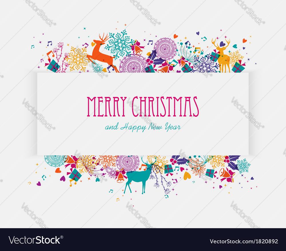 Merry christmas colorful banner vector | Price: 1 Credit (USD $1)