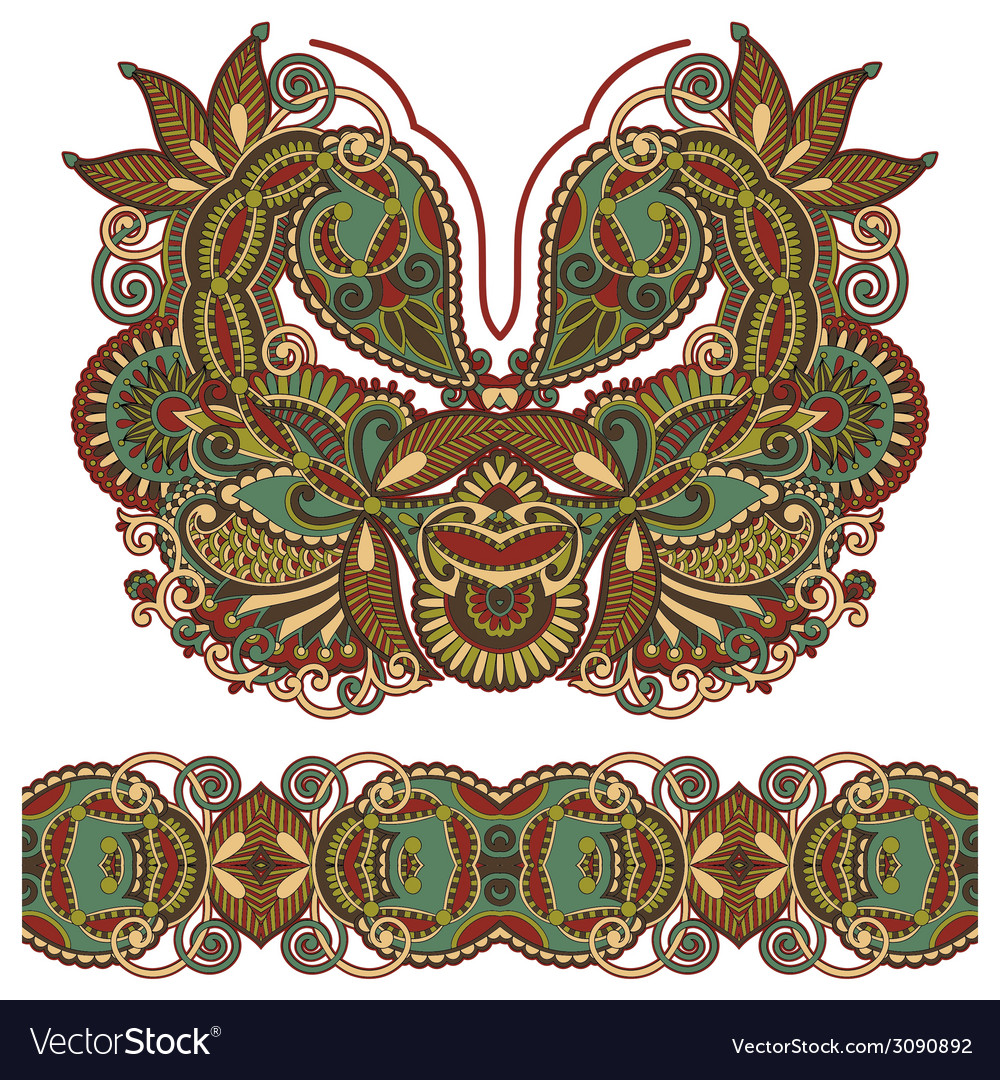 Neckline ornate floral paisley embroidery fashion vector   Price: 1 Credit (USD $1)