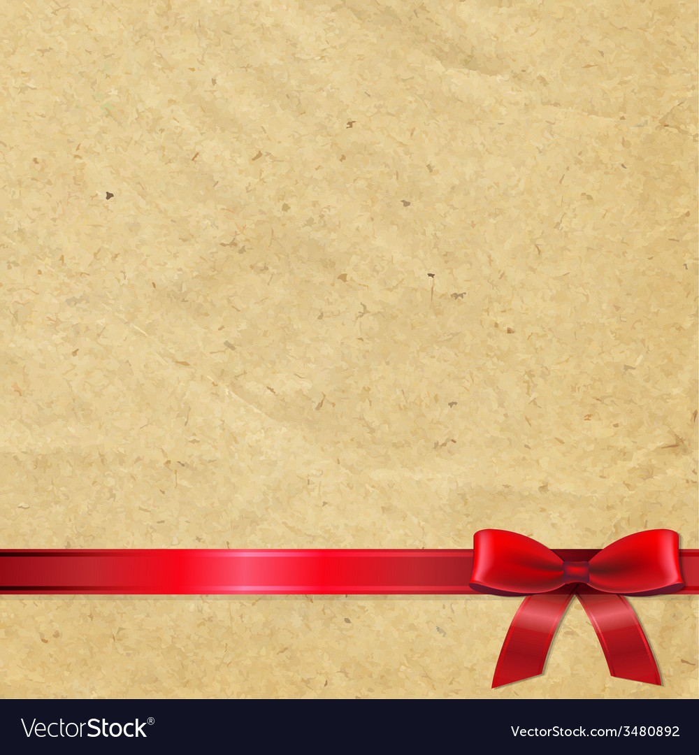 Old paper with red bow vector | Price: 1 Credit (USD $1)