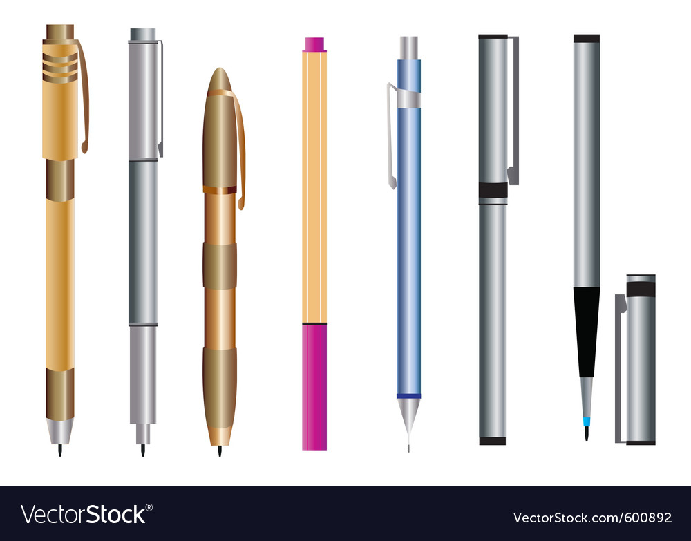 Pen set vector | Price: 1 Credit (USD $1)