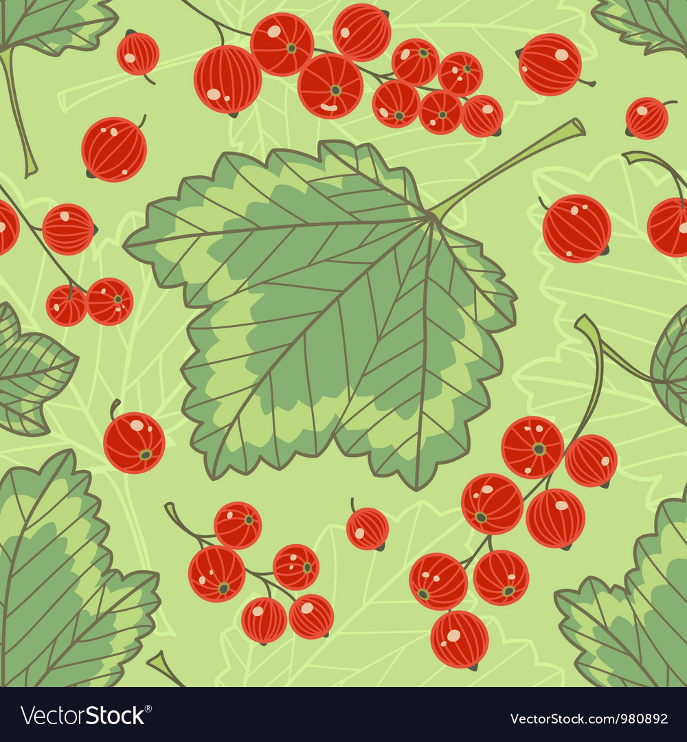 Red currants seamless pattern vector | Price: 1 Credit (USD $1)