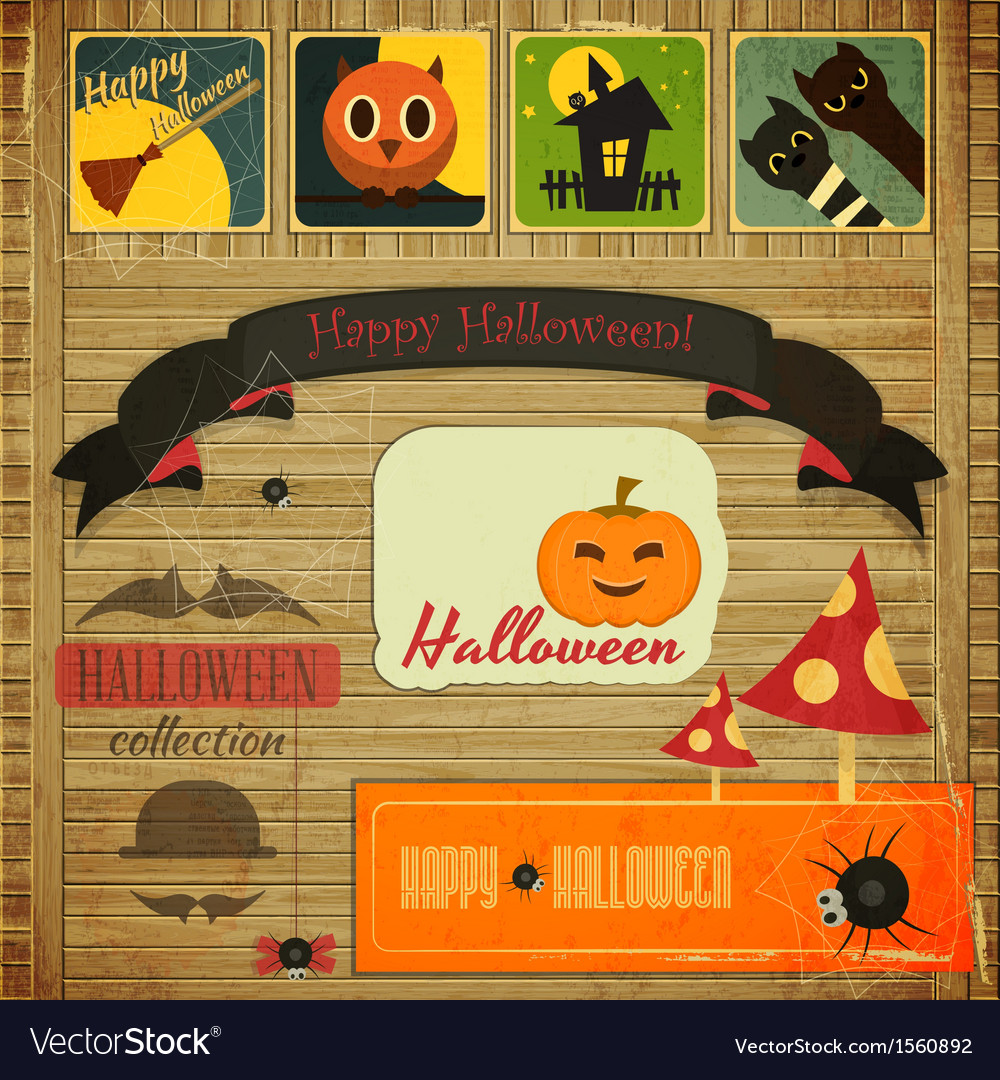 Retro halloween card vector | Price: 1 Credit (USD $1)