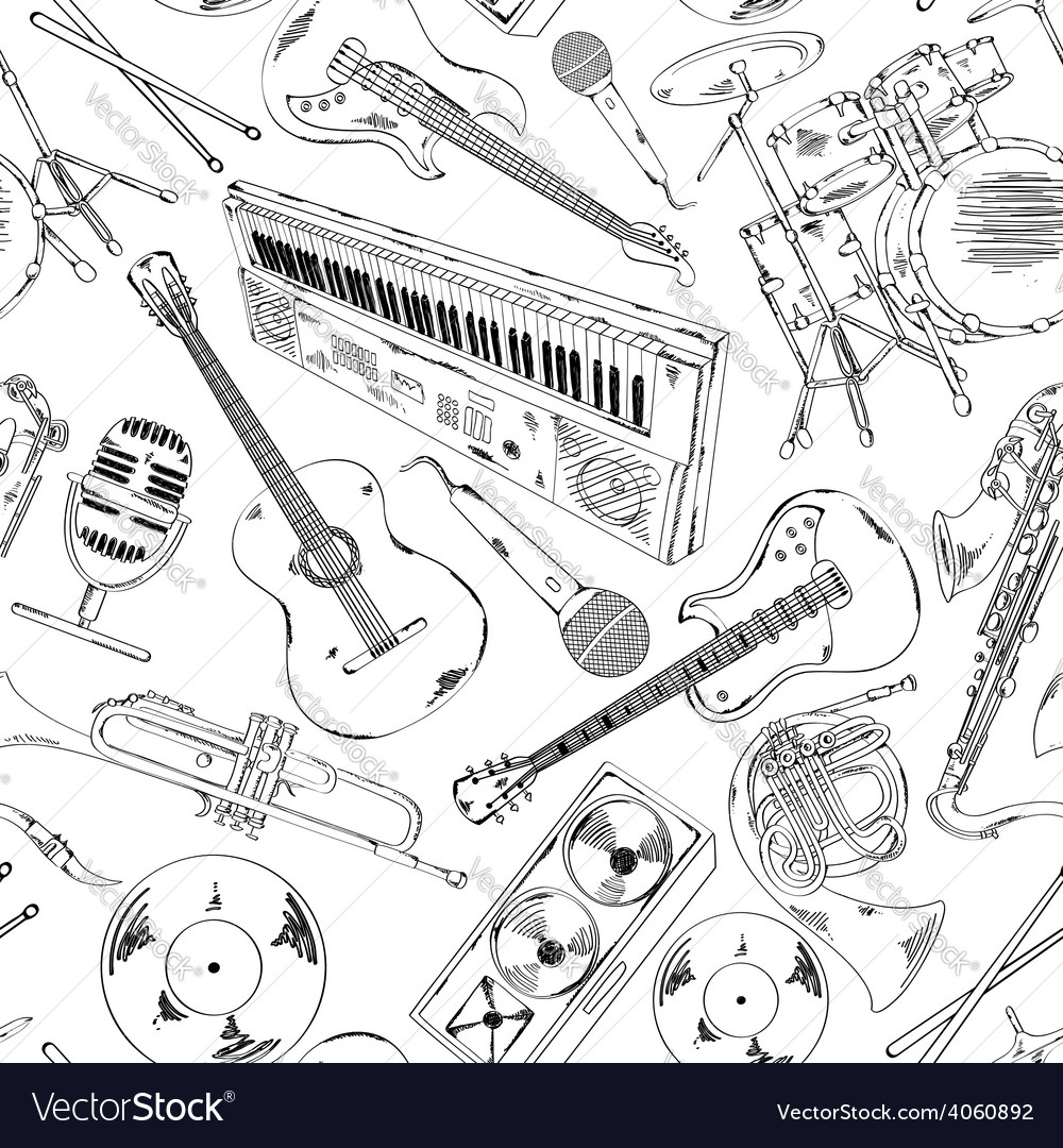 Seamless pattern of musical instruments vector | Price: 1 Credit (USD $1)