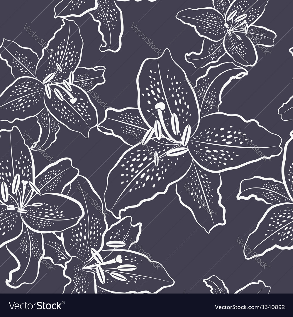 Seamless pattern white lily on a dark background vector | Price: 1 Credit (USD $1)