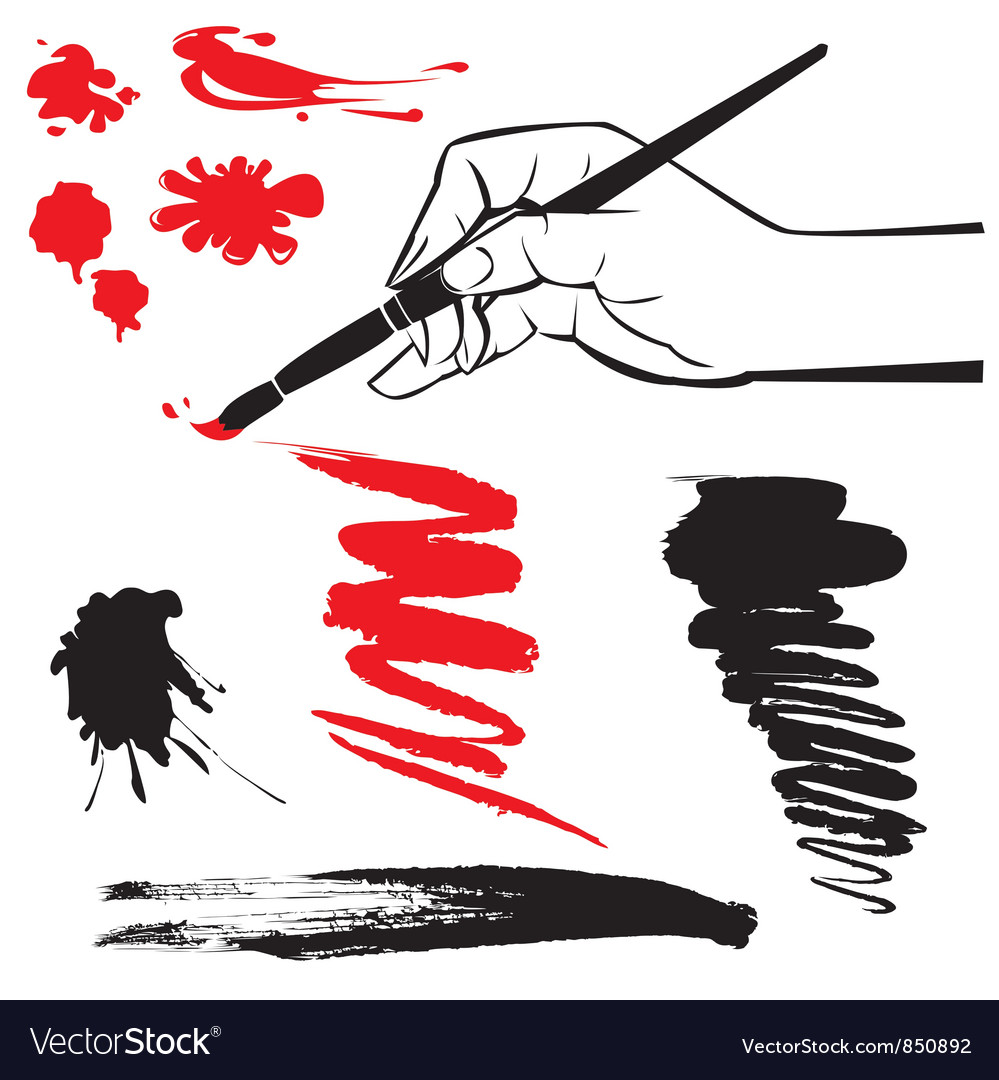 Set of black and red blots and hand with brush vector | Price: 1 Credit (USD $1)