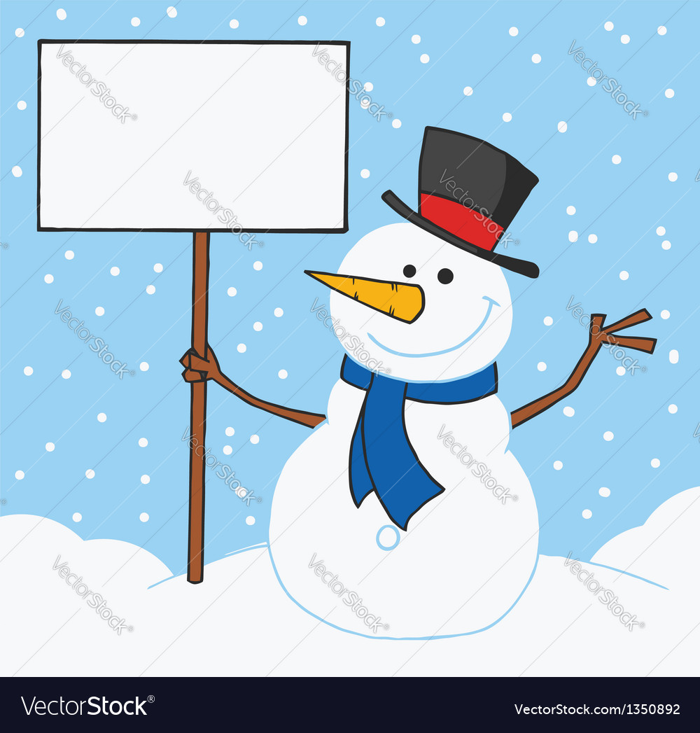 Snowman holding a blank sign in the snow vector | Price: 1 Credit (USD $1)