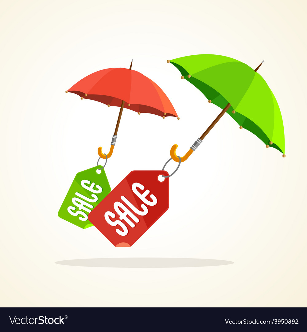 Umbrellas with sale stickers flat design vector | Price: 1 Credit (USD $1)