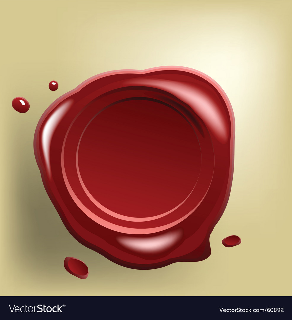 Wax seal on paper vector | Price: 1 Credit (USD $1)