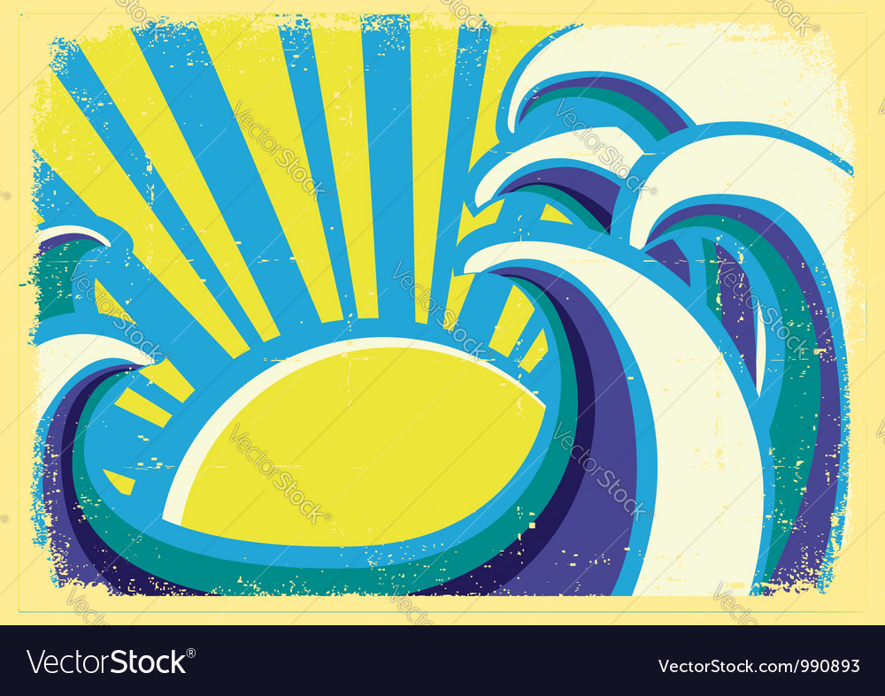 Abstract sea waves poster color on old grun vector   Price: 1 Credit (USD $1)