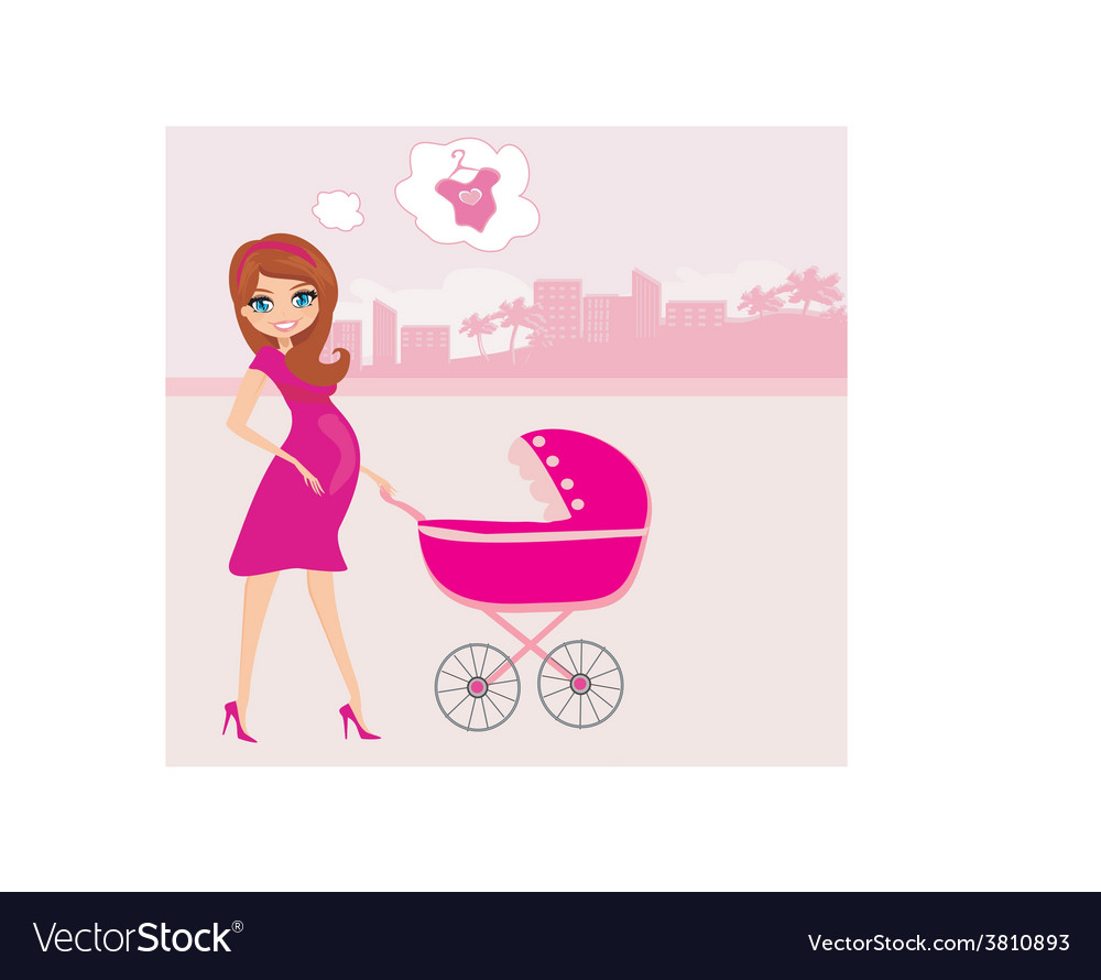 Beautiful pregnant woman pushing a stroller vector | Price: 1 Credit (USD $1)