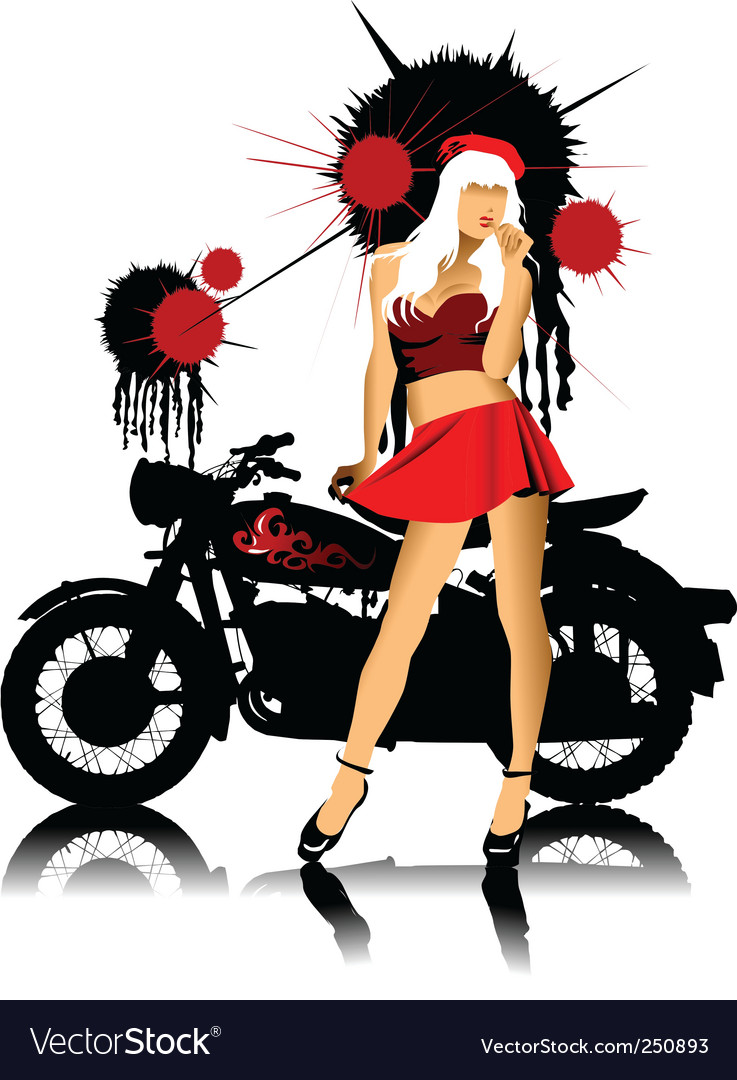 Bike and girl vector | Price: 1 Credit (USD $1)