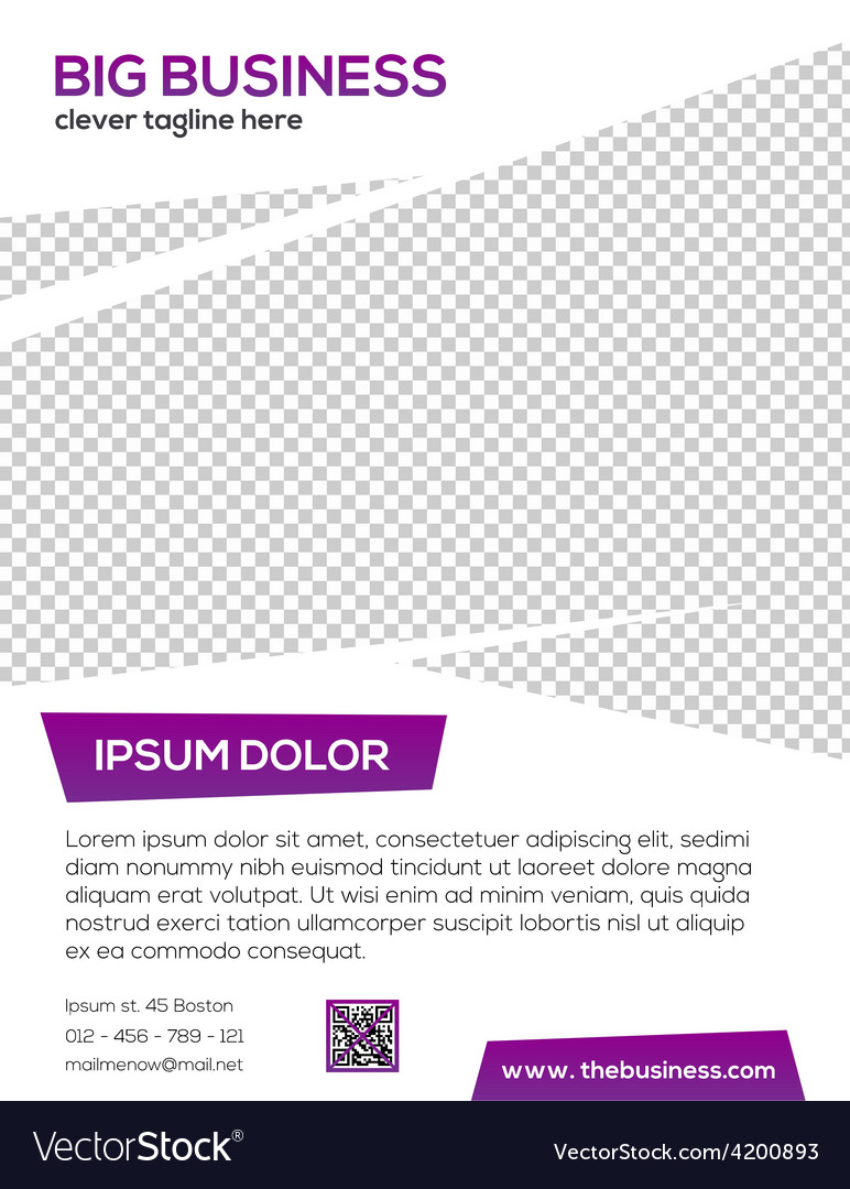Clean modern business flyer template in purple vector | Price: 1 Credit (USD $1)