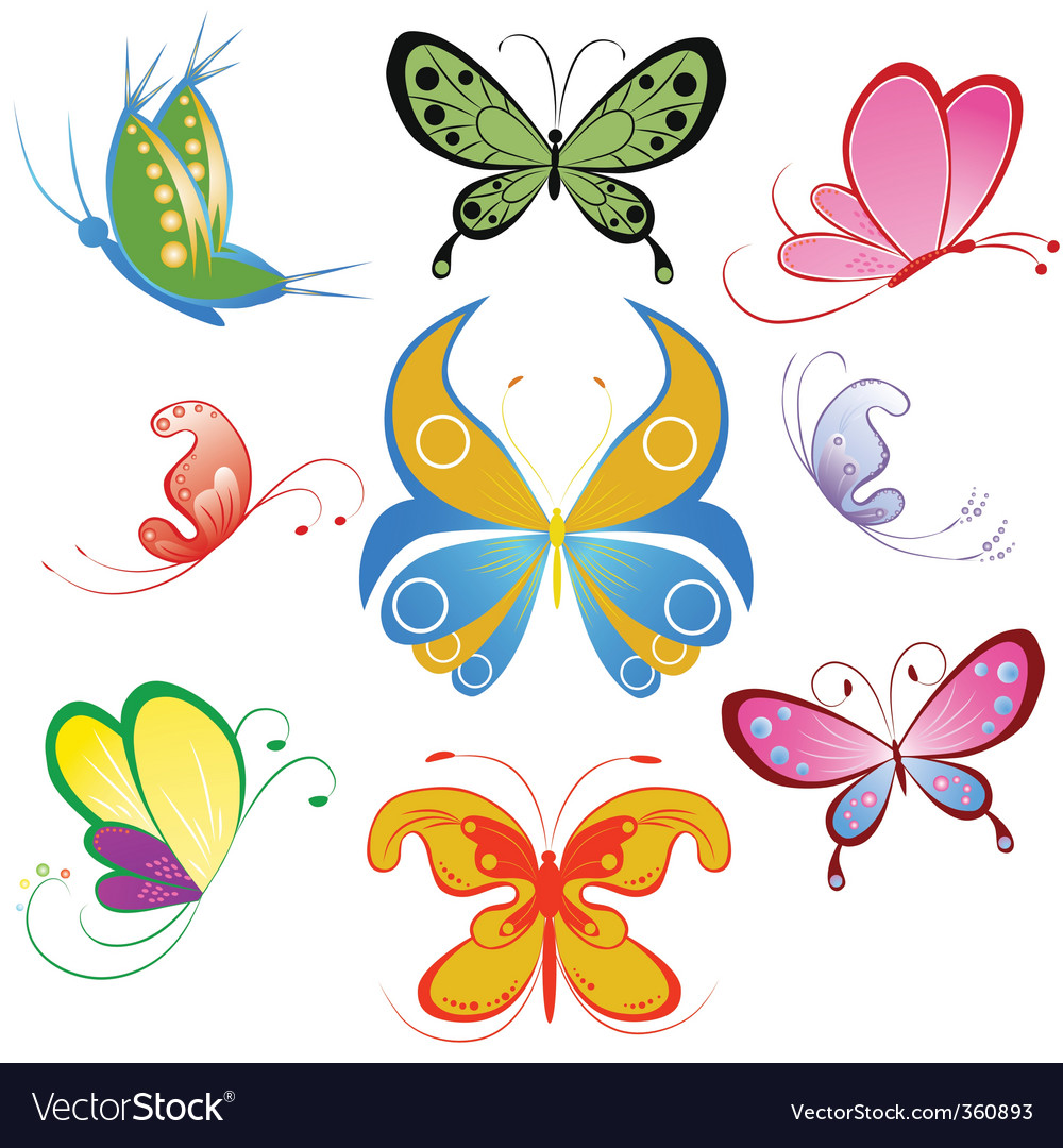 Collection of different multicolored butterfly vector | Price: 1 Credit (USD $1)
