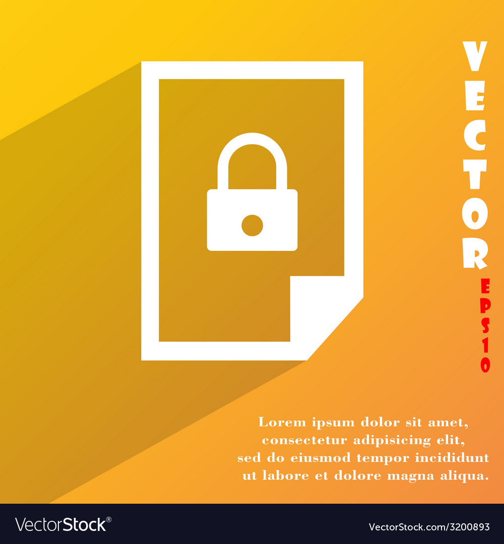 File locked icon symbol flat modern web design vector | Price: 1 Credit (USD $1)
