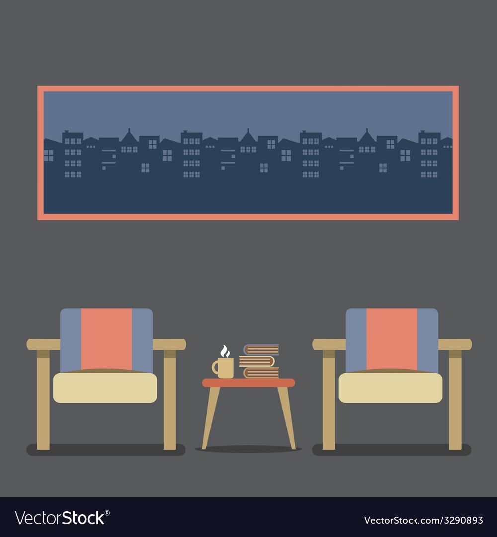Flat design empty seats vintage interior vector | Price: 1 Credit (USD $1)