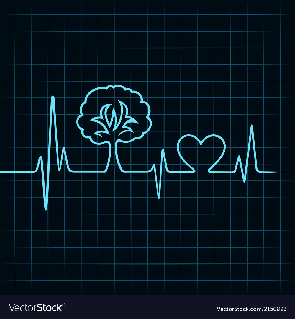 Heartbeat make a tree and heart symbol vector | Price: 1 Credit (USD $1)