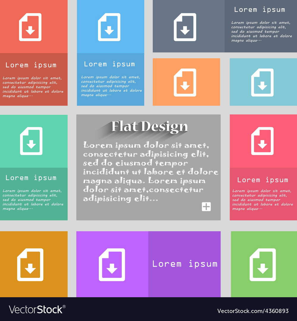 Import download file icon sign set of multicolored vector | Price: 1 Credit (USD $1)