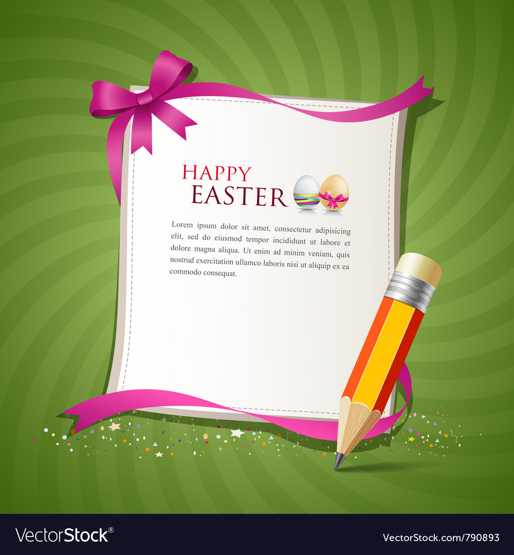 Paper card and pencil of the happy easter eggs vector   Price: 1 Credit (USD $1)