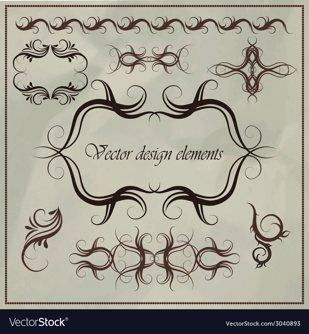 Set of calligraphic design elements vector | Price: 1 Credit (USD $1)