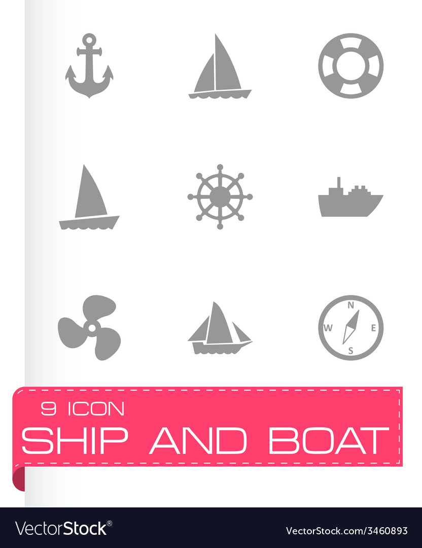 Ship and boat icon set vector | Price: 1 Credit (USD $1)