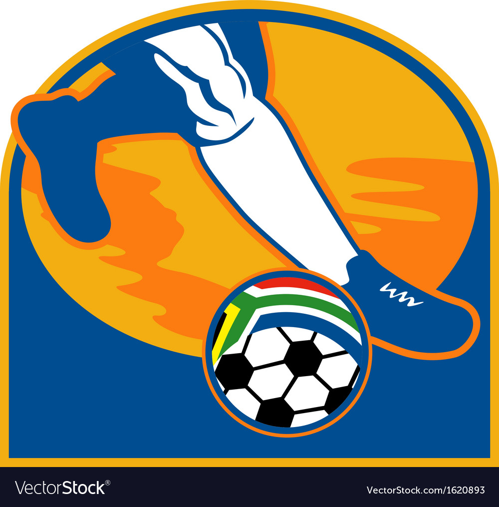 Soccer player ball flag south africa vector | Price: 1 Credit (USD $1)