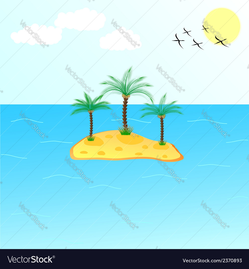 Uninhabited island vector | Price: 1 Credit (USD $1)
