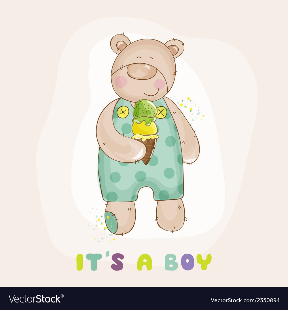 Baby bear with ice cream - baby shower card vector | Price: 1 Credit (USD $1)