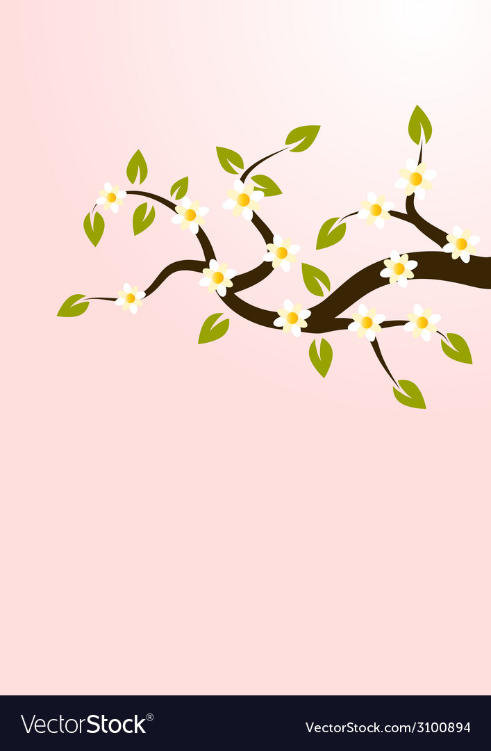 Branches with flowers vector | Price: 1 Credit (USD $1)