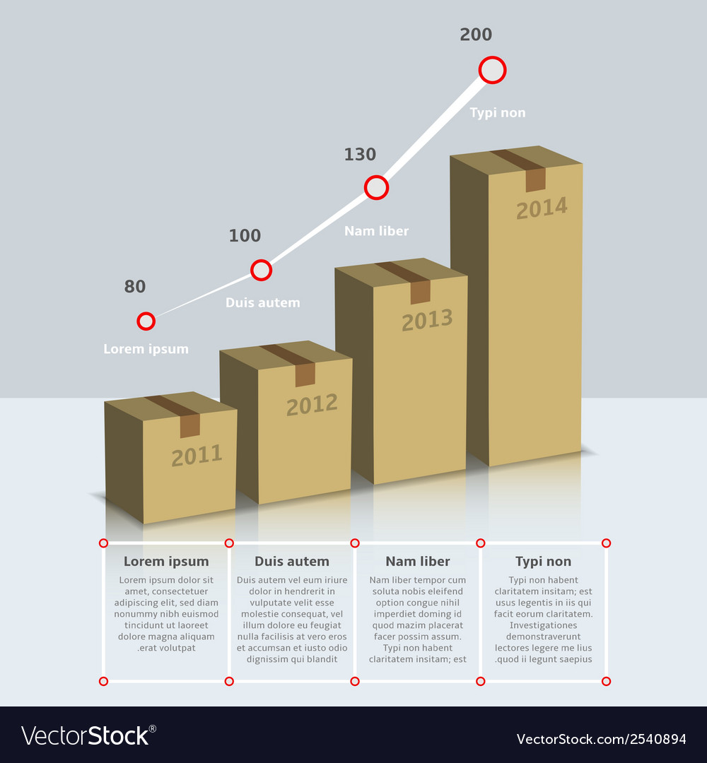 Carton box growth infographic vector | Price: 1 Credit (USD $1)