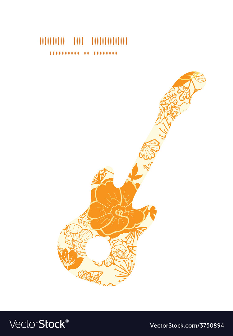 Golden art flowers guitar music silhouette vector | Price: 1 Credit (USD $1)
