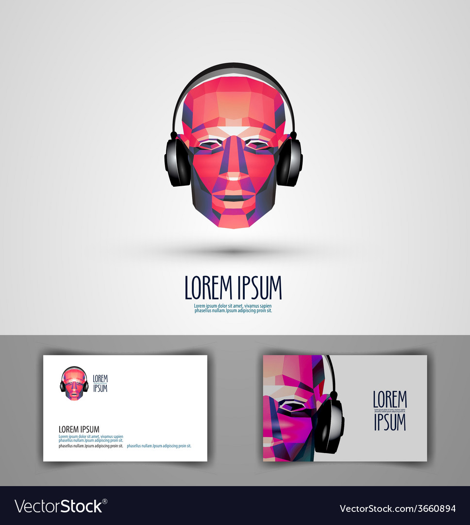 Music logo design template headphones or vector | Price: 1 Credit (USD $1)