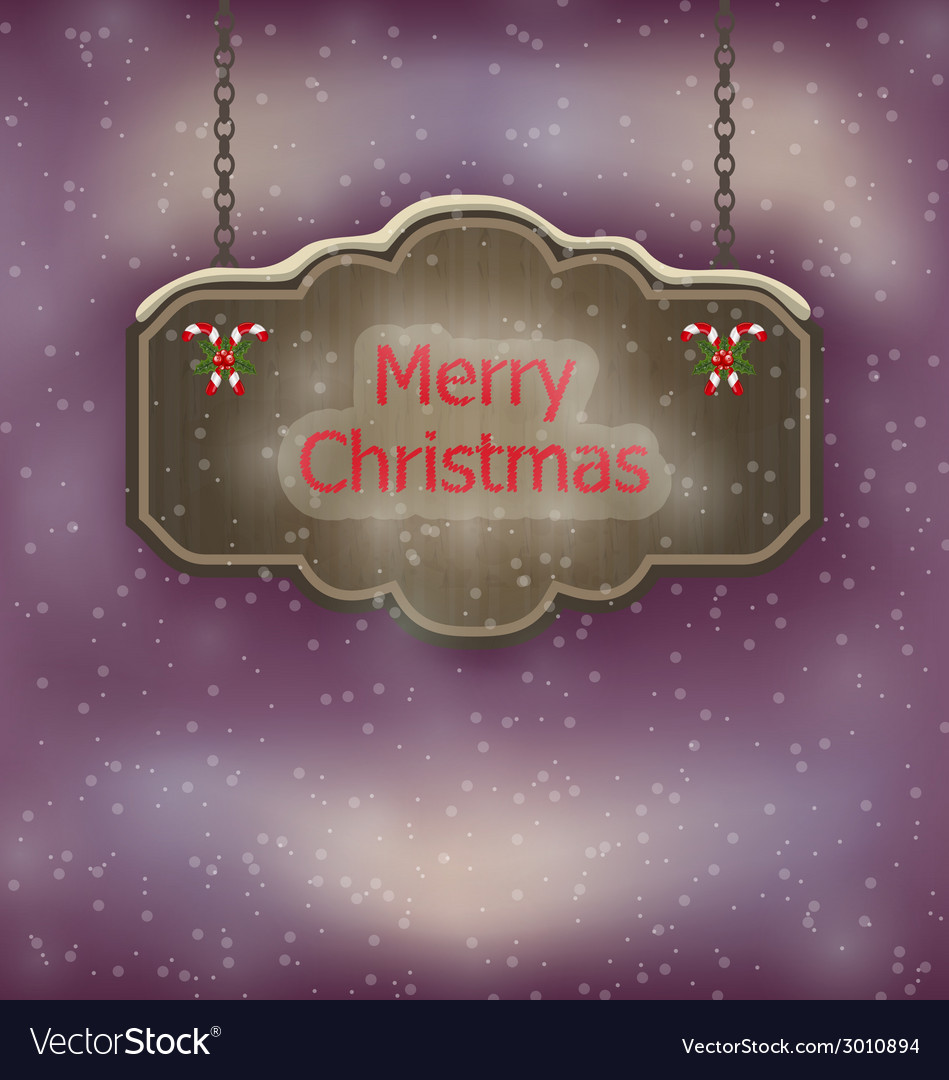 Night background with hanging merry christmas vector | Price: 1 Credit (USD $1)