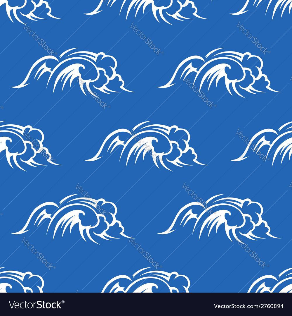 Ocean waves seamless pattern vector | Price: 1 Credit (USD $1)