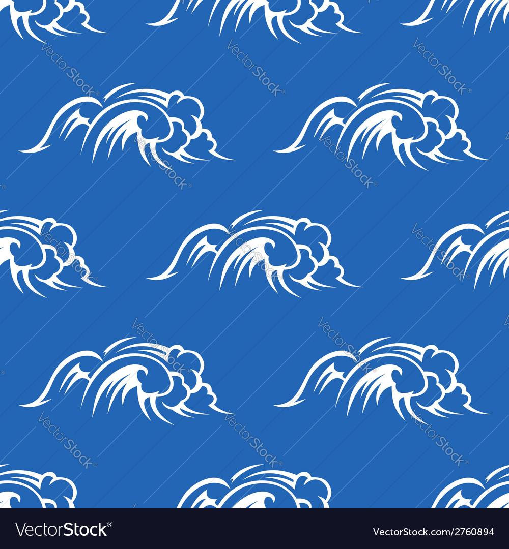 Ocean waves seamless pattern vector | Price: 1 Credit (USD $1)