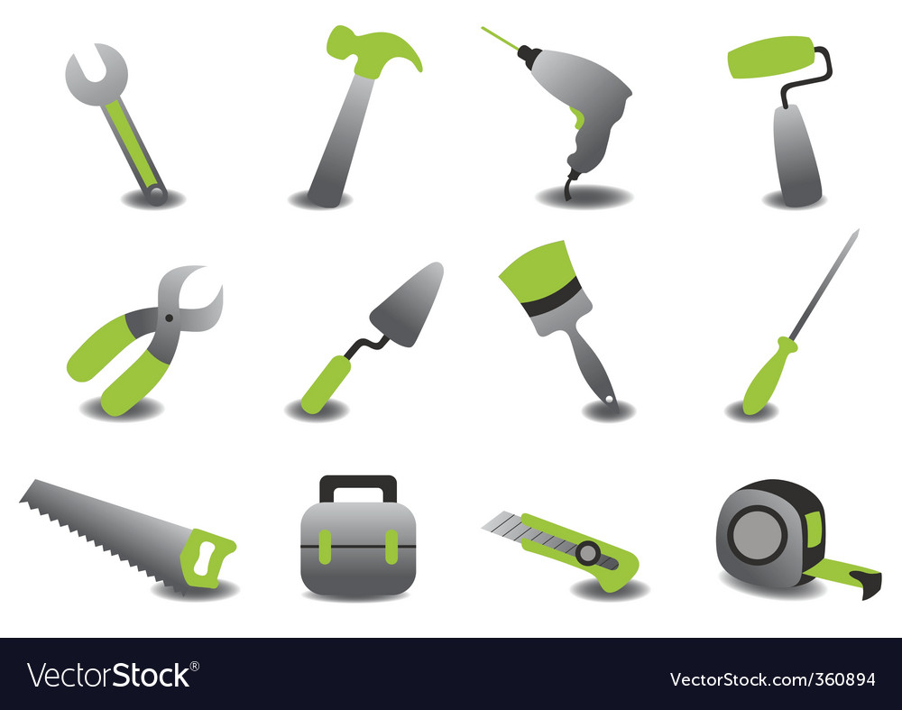 Professional repairing tools icons vector | Price: 1 Credit (USD $1)