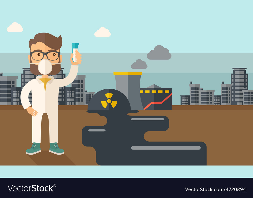 Scientist with mask and test tube vector | Price: 1 Credit (USD $1)