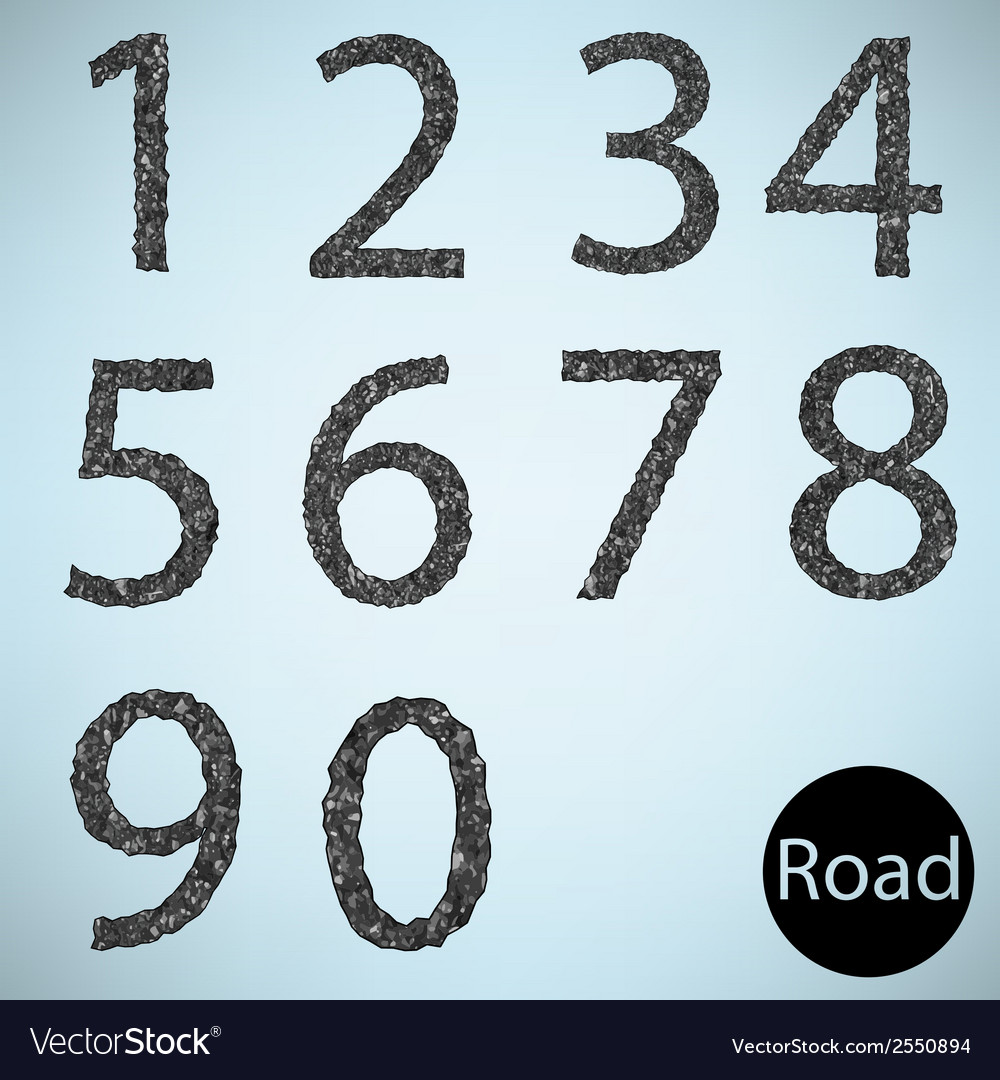 Set number road asphalt texture vector | Price: 1 Credit (USD $1)