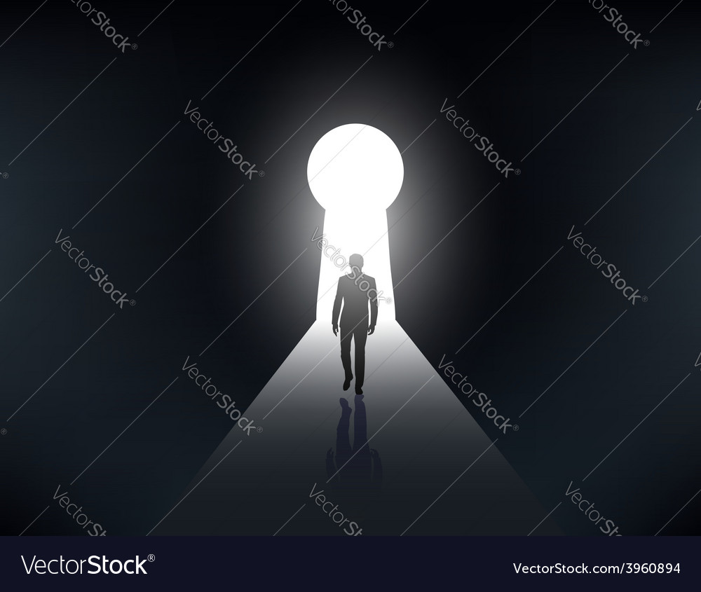 Silhouette of a man walking in the light vector | Price: 1 Credit (USD $1)
