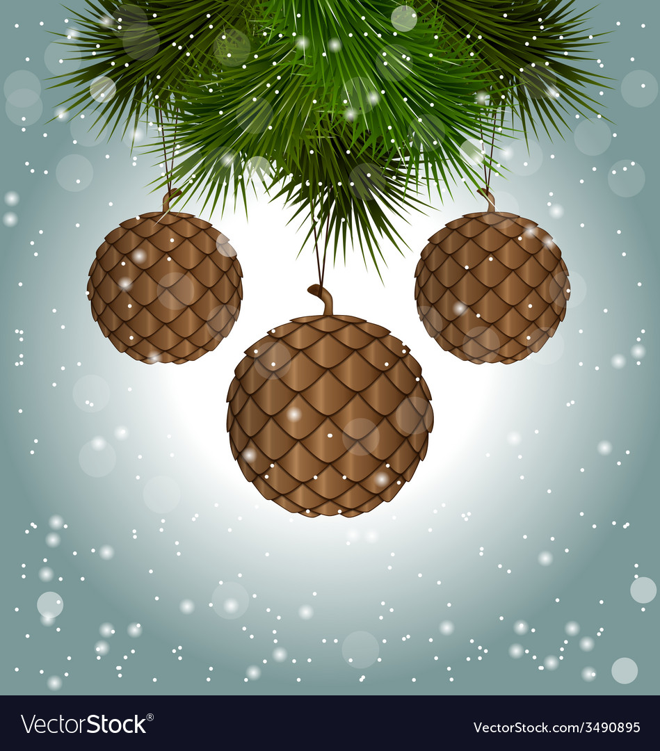 Cones like christmas balls hanging on pine vector | Price: 1 Credit (USD $1)