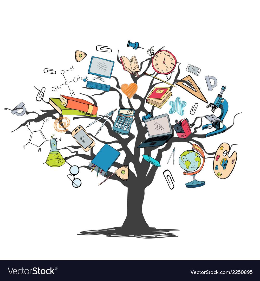 Education icon doodle tree vector | Price: 1 Credit (USD $1)