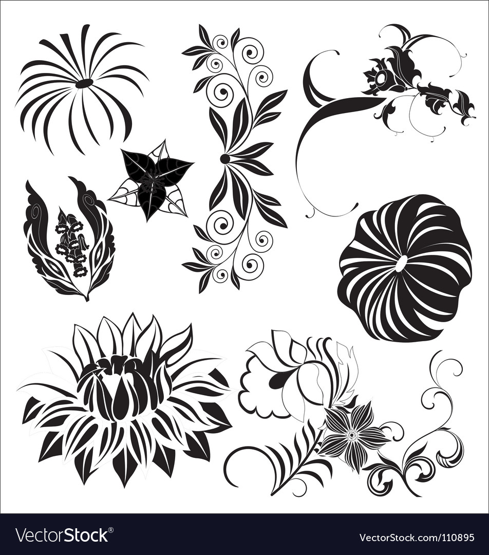 Floral elements vector | Price: 1 Credit (USD $1)