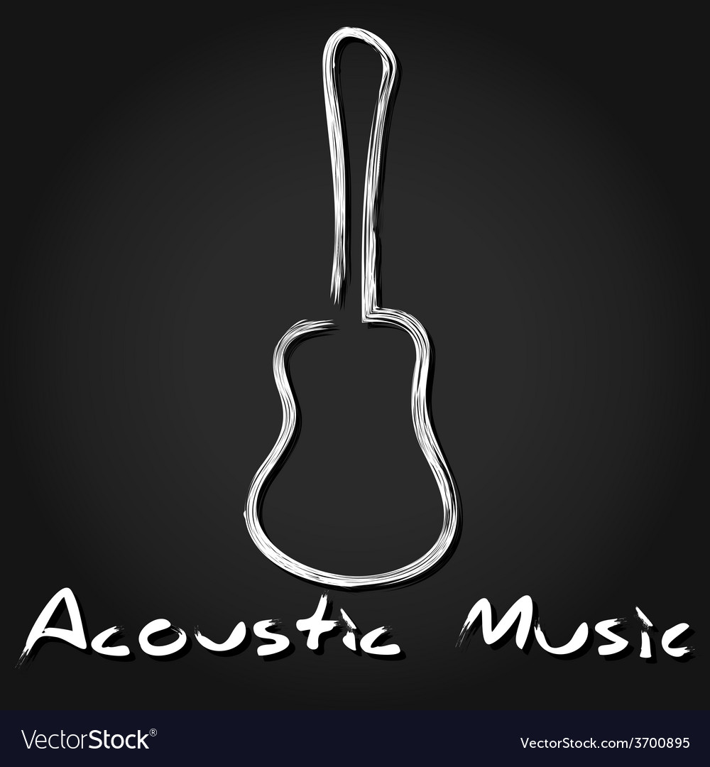 Hand drawn acoustic guitar vector | Price: 1 Credit (USD $1)